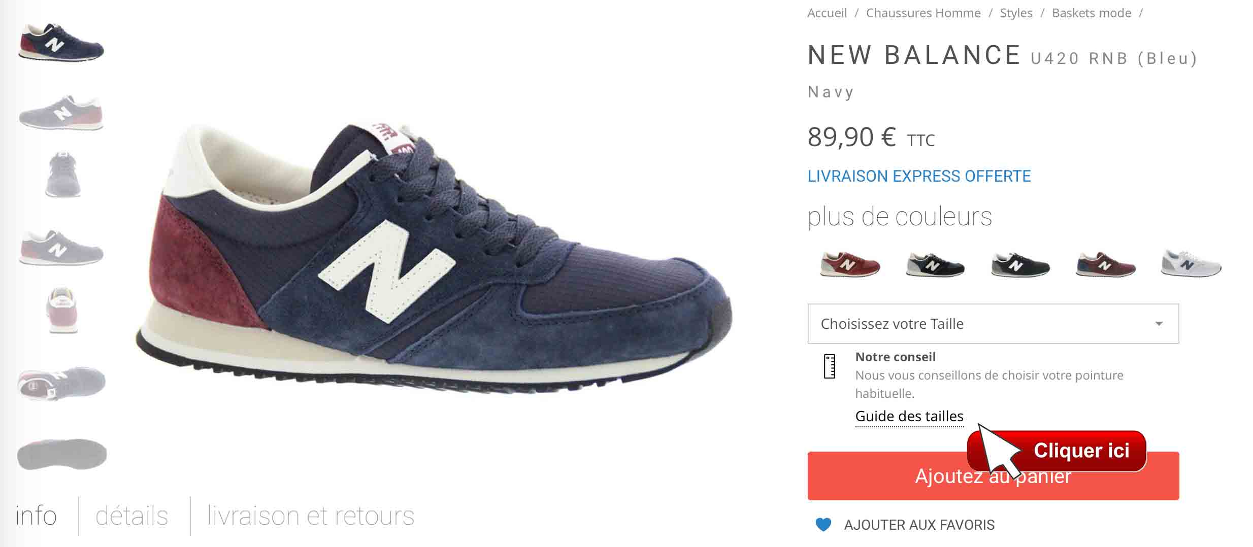 guide taille new balance eu femme